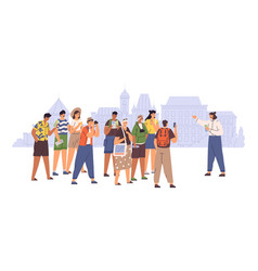 female tour guide showing interesting places vector image
