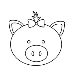 Figure face pig ribbon bow head icon vector