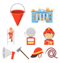 fire department set icons in cartoon style big vector image