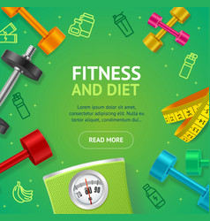 fitness and diet concept banner card with vector image