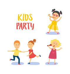 flat cartoon kids at party set vector image