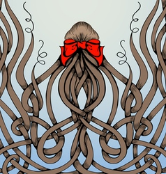 Frame made by long hair with big red bow vector image