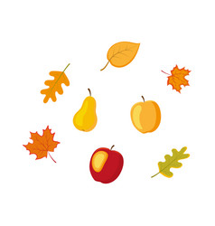 fruit vegetables autumn falling leaves set vector image
