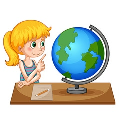 Girl looking at globe on the table vector image
