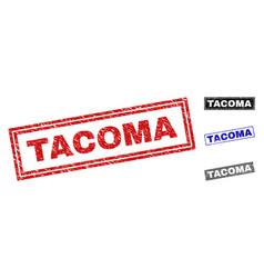 Grunge tacoma textured rectangle stamps vector