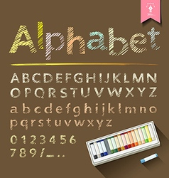 Hand drawn sketch alphabet with pastel color box vector