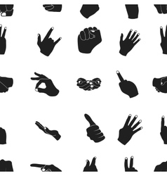 Hand gestures pattern icons in black style Big vector