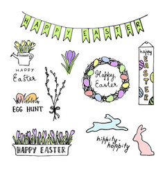 happy easter colored sketch with eggs rabbits vector image