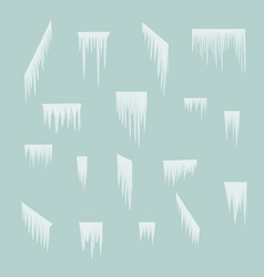 icicles set simple winter background vector image