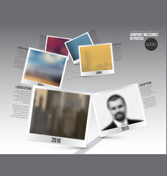 Infographic timeline template with photos vector