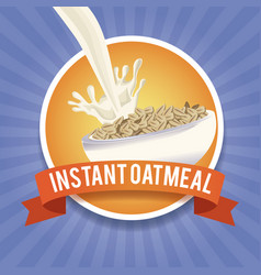 Instant oatmeal label vector