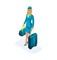 Isometry of the stewardess girl comes vector