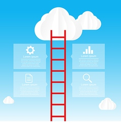 Ladder to sky and cloud infographic data bubble vector
