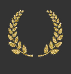 Laurel wreath icon with glitter effect isolated vector