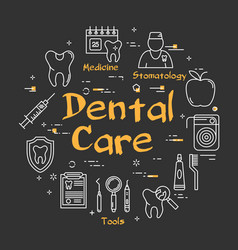 linear dental care concept on black chalkboard vector image