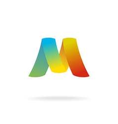 M letter logo template Colorful elegant ribbons vector image