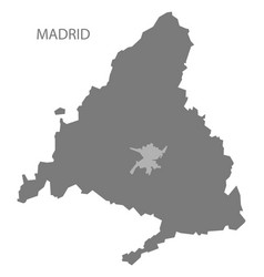 Madrid spain map grey vector