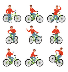 male bicyclist riding on bike set active vector image