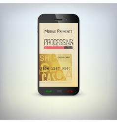 Mobile phone payment process via a smartphone vector