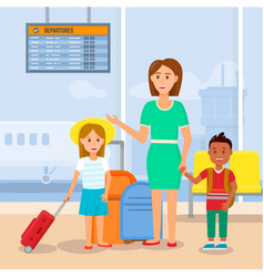 Mother travelling with little daughter and son vector