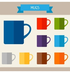Mugs colored templates for your design in flat vector image