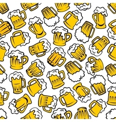 Mugs of beer lager ale drinks seamless pattern vector image