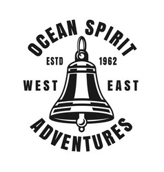 Nautical ship bell vintage black emblem vector