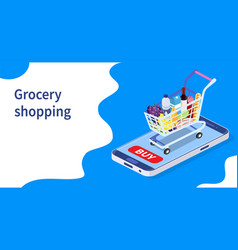 Online grocery shopping concept vector