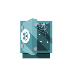 opened empty safe with cobweb and flies inside vector image