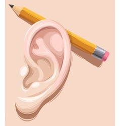Pencil behind ear vector image
