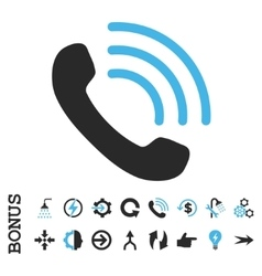 Phone Call Flat Icon With Bonus vector image
