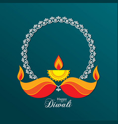 poster for happy diwali with beautiful design vector image