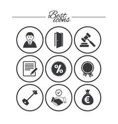 Real estate auction icons home key sign vector