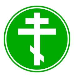 Religious orthodox cross button vector
