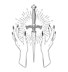 Ritual dagger in female hands with rays of light vector