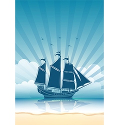 Sail ship background vector