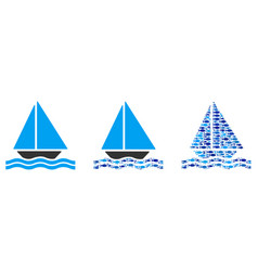 Sailing yacht collage vector