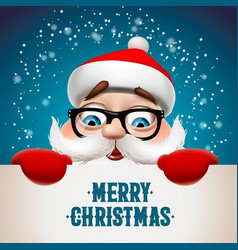 santa claus with big signboard merry christmas vector image