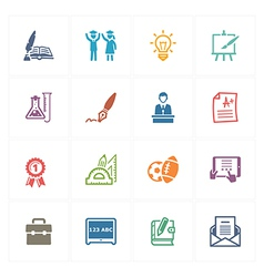 School and Education Icons Set 4 - Colored Series vector image