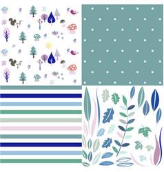 seamless natural ornament patterns set vector image