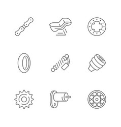 set line icons motorcycle parts vector image