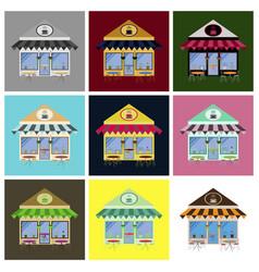 Set of coffee house building facade vector
