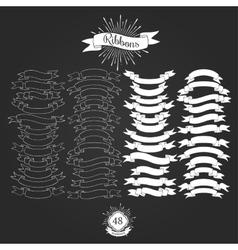 set ribbons for vintage logos vector image