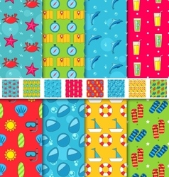Set Seamless Patterns with Tourism Objects and vector image