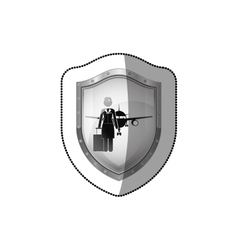 Sticker shield flight attendant and aeroplane vector
