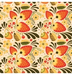 Strawberry and Flowers in Khokhloma style vector image