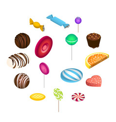 Sweet candy icon set isometric style vector