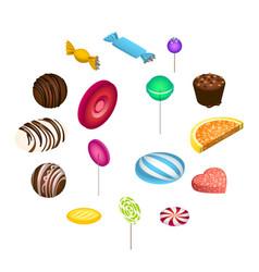 sweet candy icon set isometric style vector image