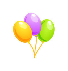 Three colorful balloons balloons for birthday vector