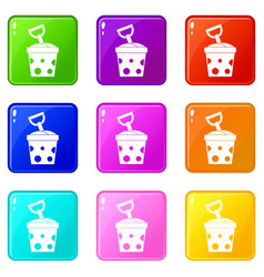 Toy bucket and shovel icons 9 set vector